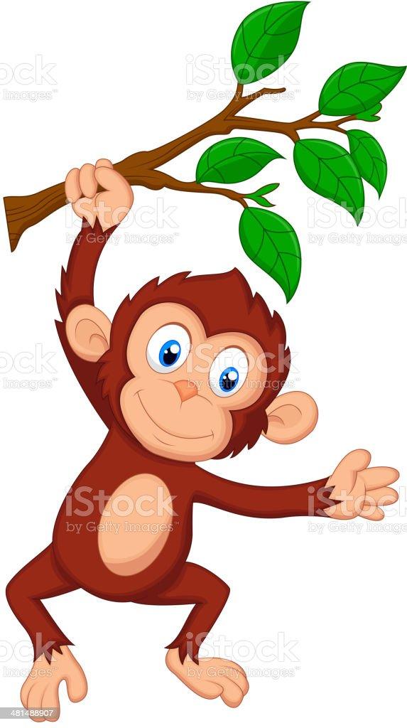 Cute monkey cartoon hanging vector art illustration