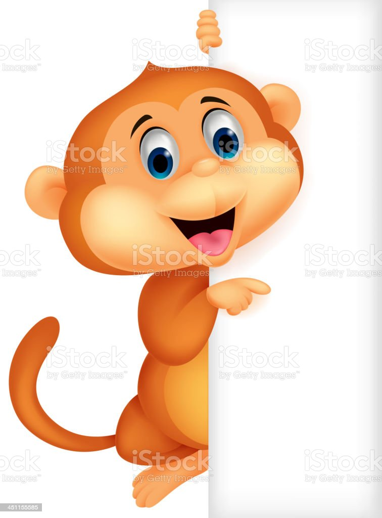 Cute monkey cartoon with blank sign royalty-free stock vector art