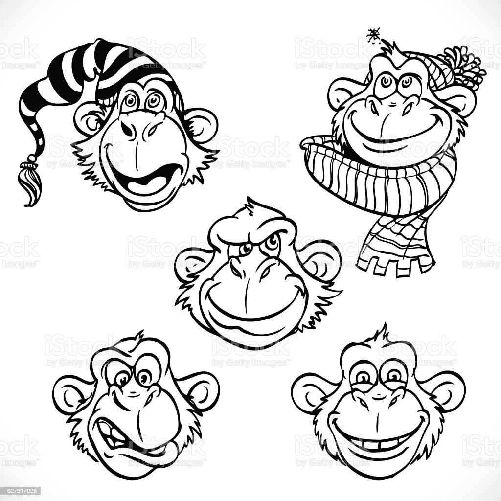 Cute monkey characters line art isolated on a white background vector art illustration