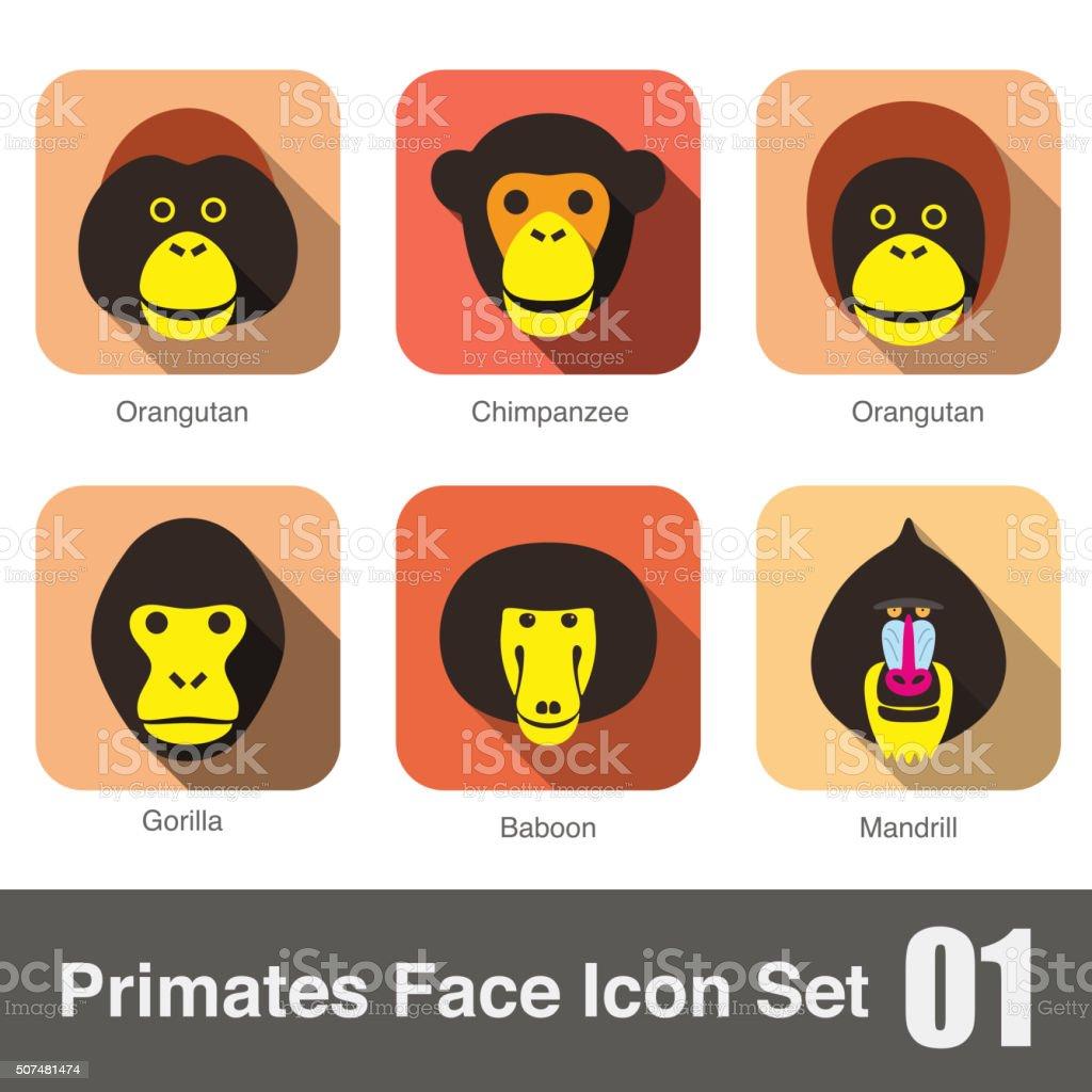 cute monkey face flat icon set vector art illustration