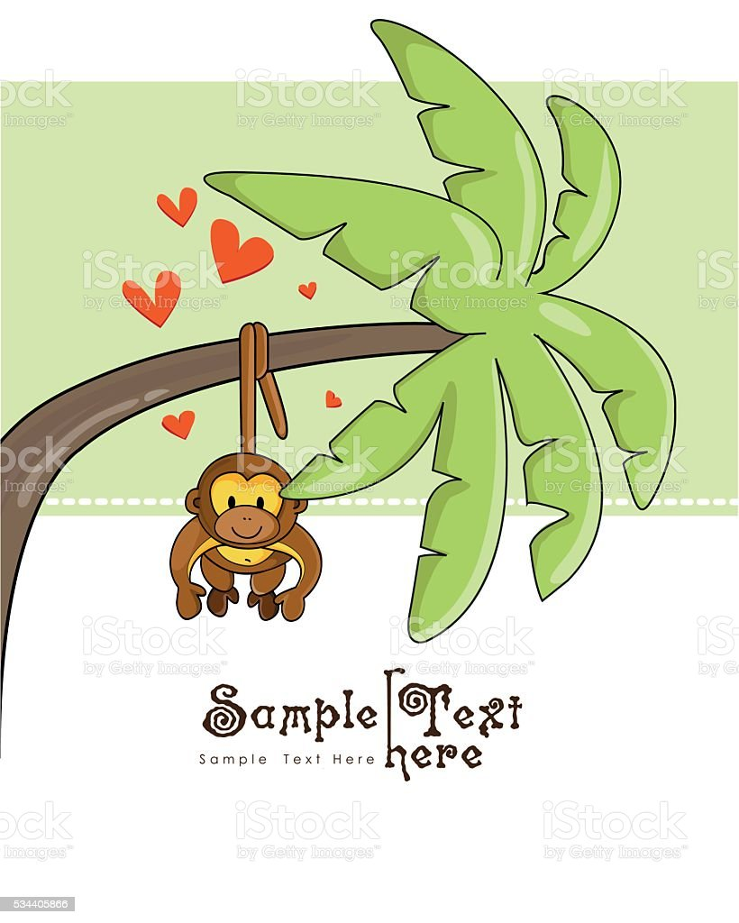 Cute monkey in love and a palm tree vector art illustration