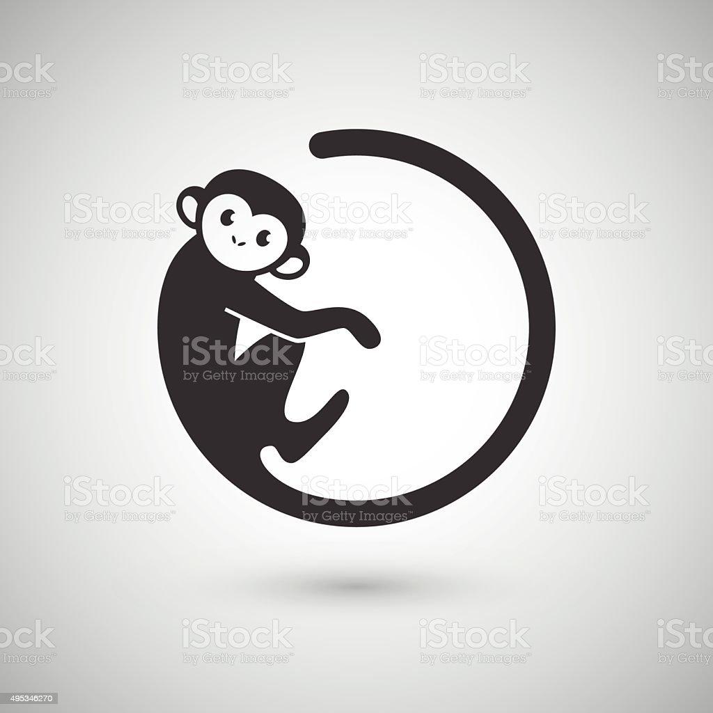 Cute monkey , New Year 2016 vector art illustration