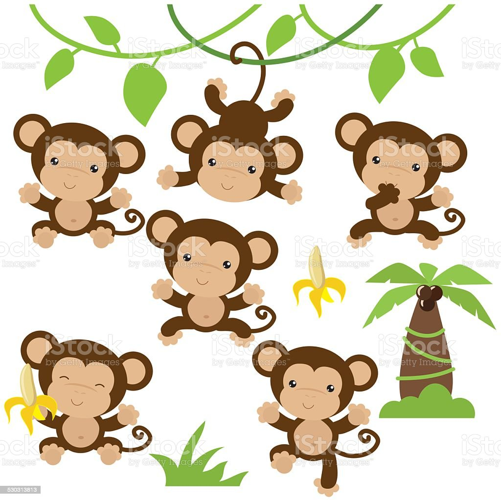 Cute monkey vector illustration vector art illustration