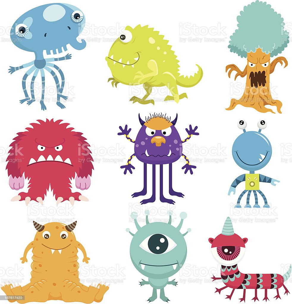 Cute Monster Collection Set vector art illustration