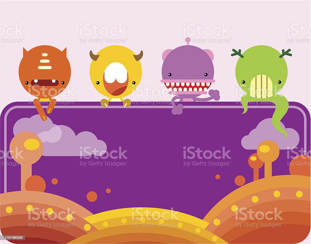 Cute monsters banner royalty-free stock vector art