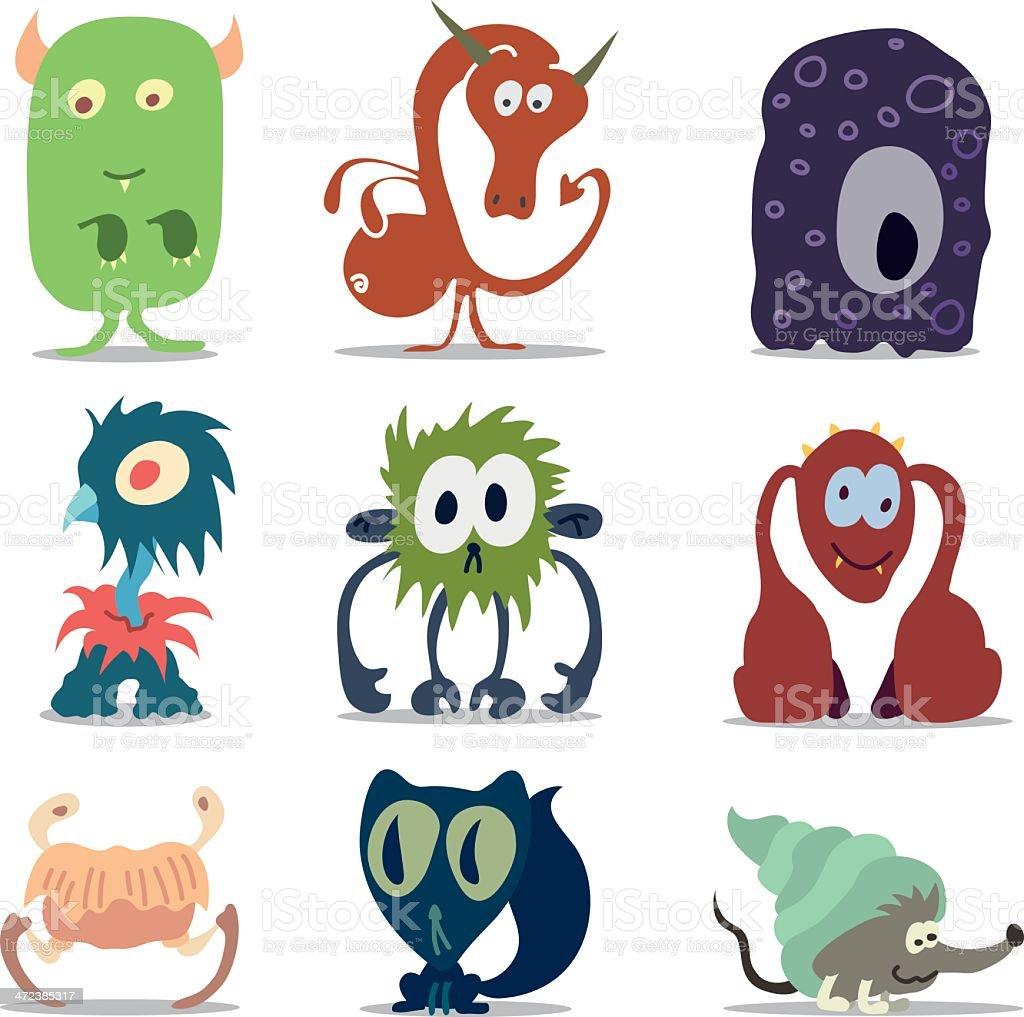Cute Monsters or Aliens vector art illustration