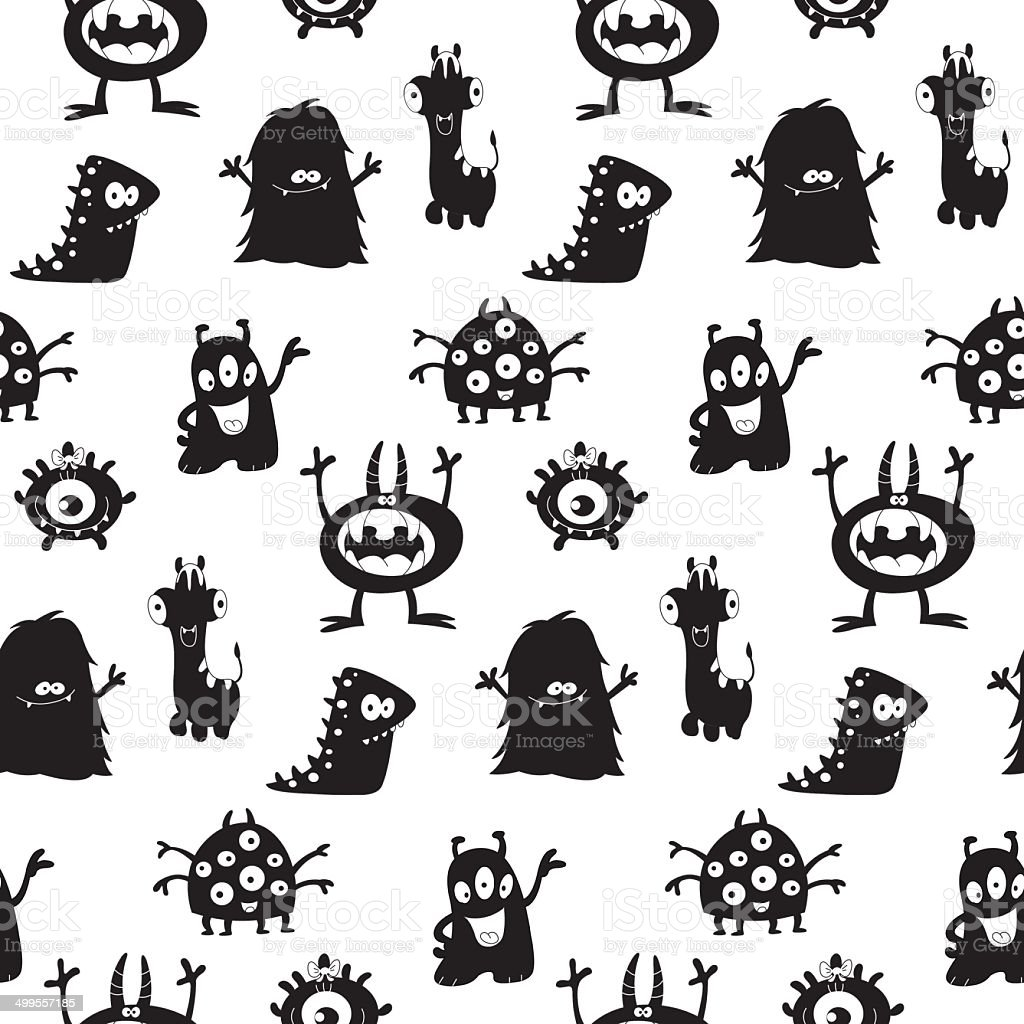 Cute monsters silhouettes pattern vector art illustration
