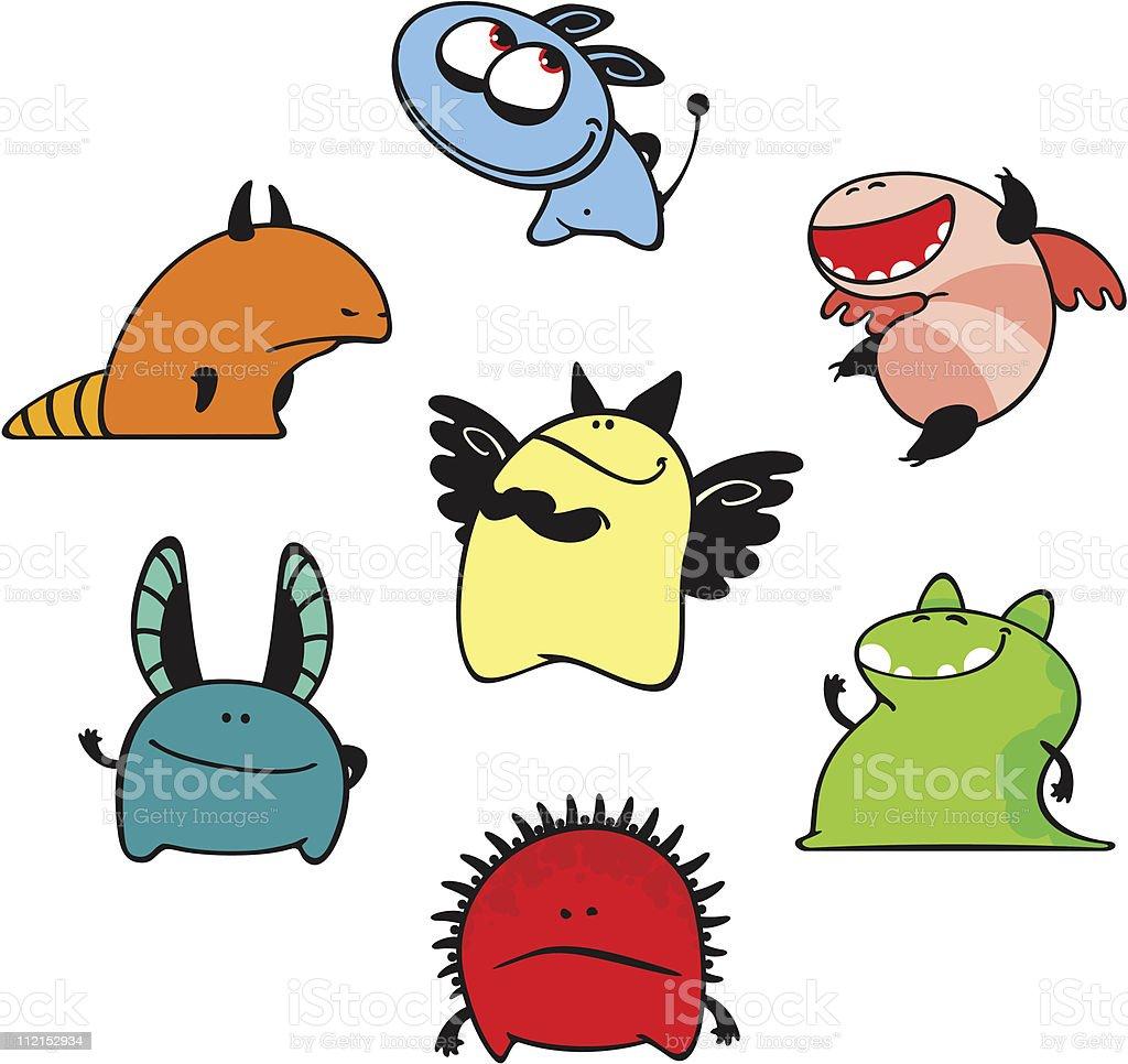 Cute monsters vector art illustration