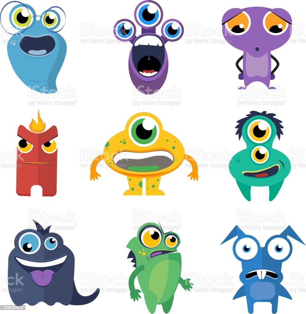 Cute monsters vector set in cartoon style vector art illustration