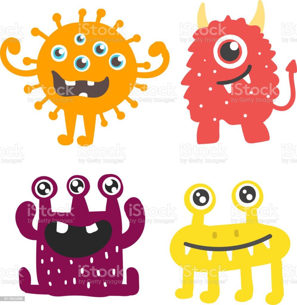 Cute monsters vector set. vector art illustration