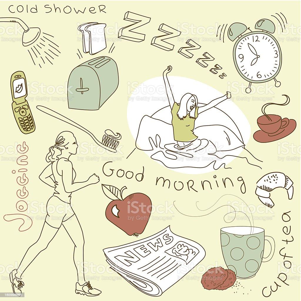 Cute morning doodles royalty-free stock vector art