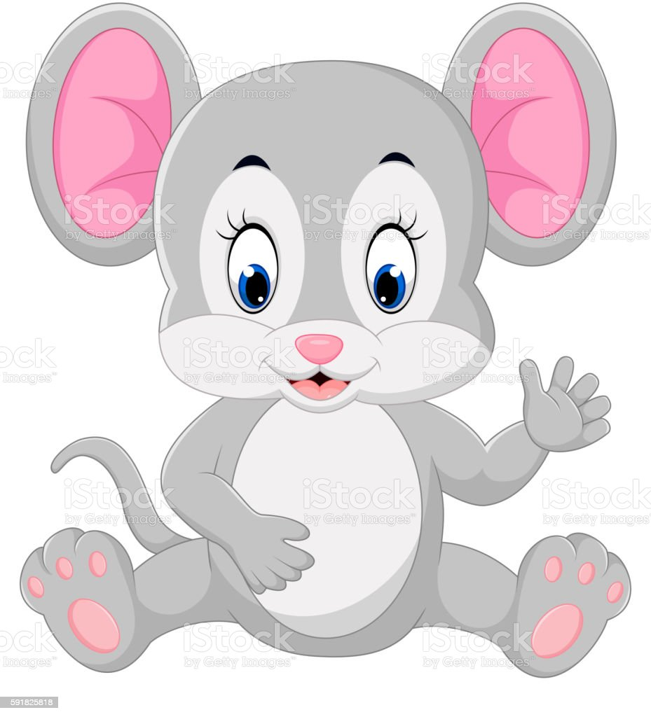 Cute mouse cartoon waving vector art illustration