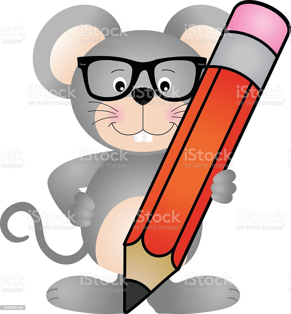 Cute mouse with pencil vector art illustration