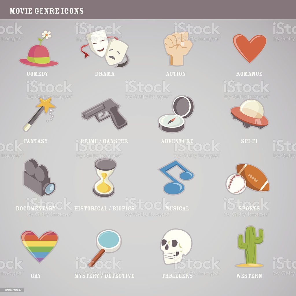 Cute movie genre icons royalty-free stock vector art