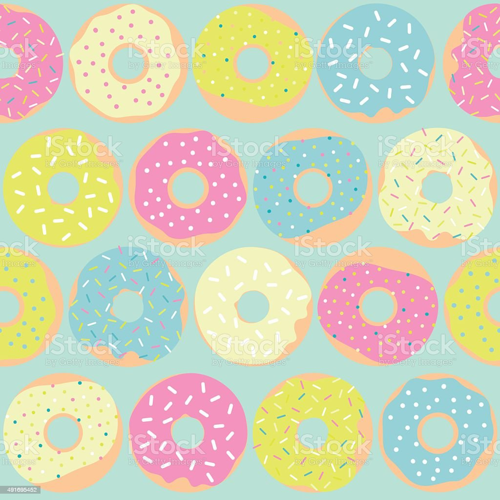 Cute multicolored pattern with sweet donuts. vector art illustration