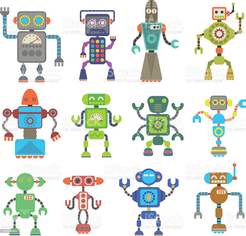Cute Multicolored retro robot set royalty-free stock vector art
