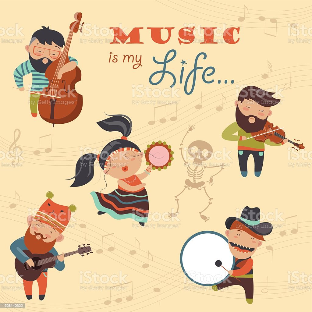 Cute musicians and dancer vector art illustration