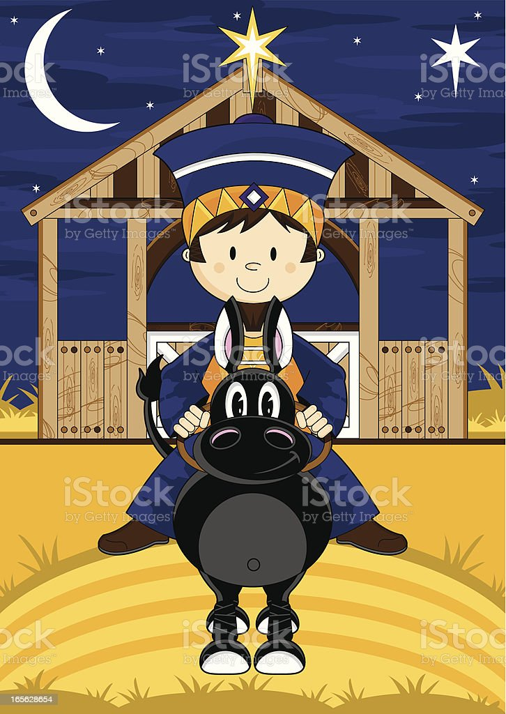 Cute Nativity King at Stable royalty-free stock vector art