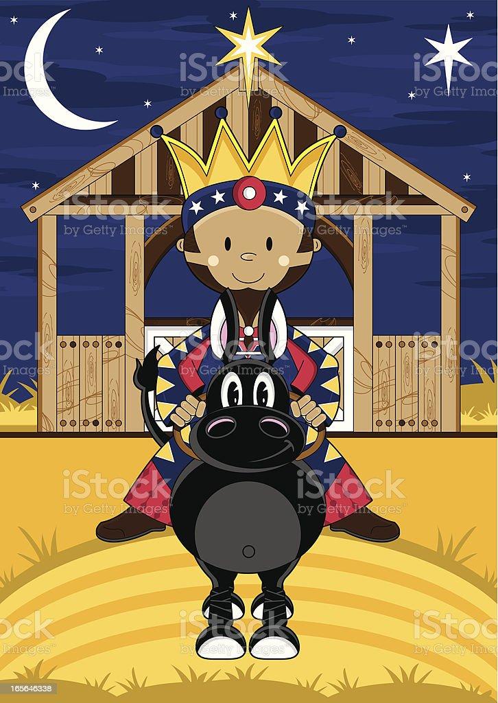 Cute Nativity King at Stable royalty-free stock vector art