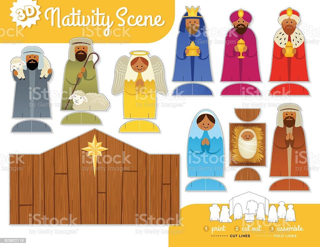 Cute Nativity Scene. Print, cut and assemble set with instructions vector art illustration