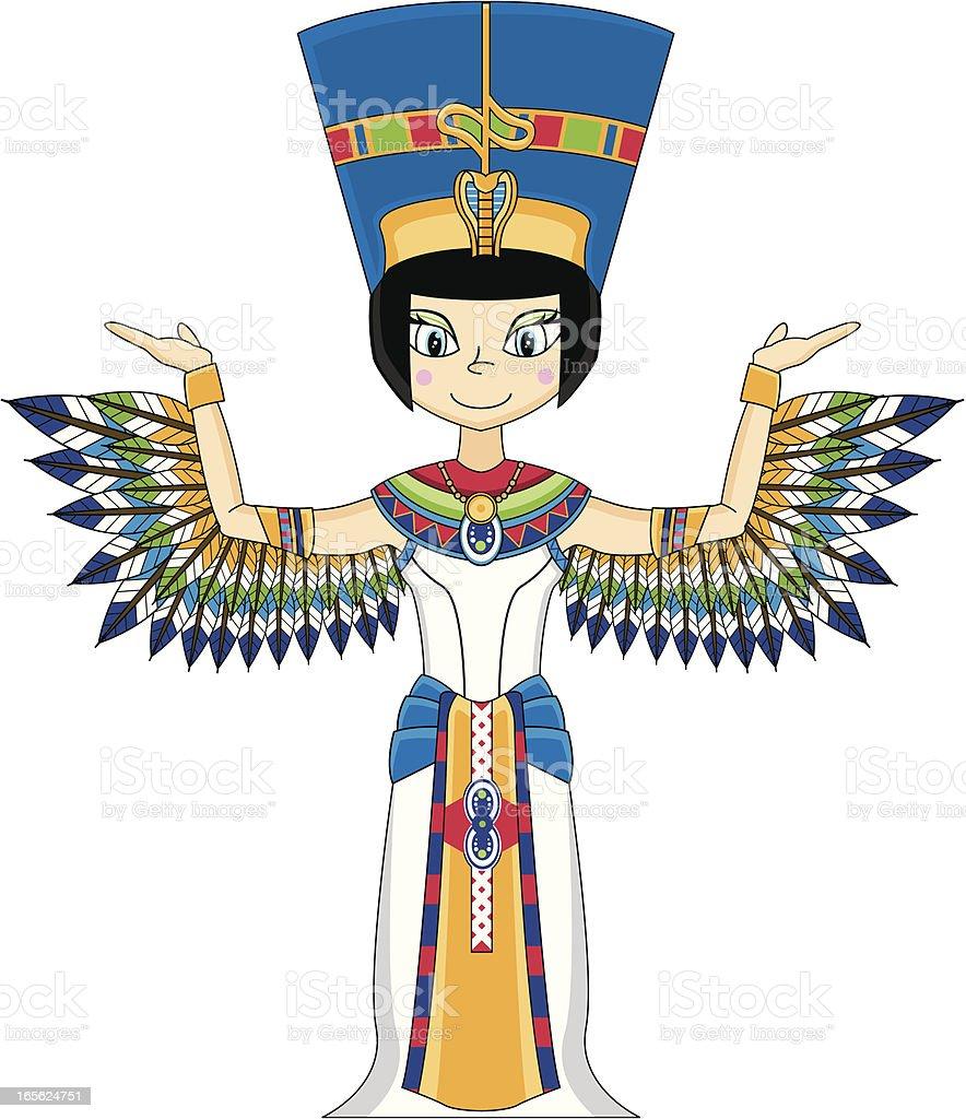 Cute Nefertiti Egyptian Queen royalty-free stock vector art