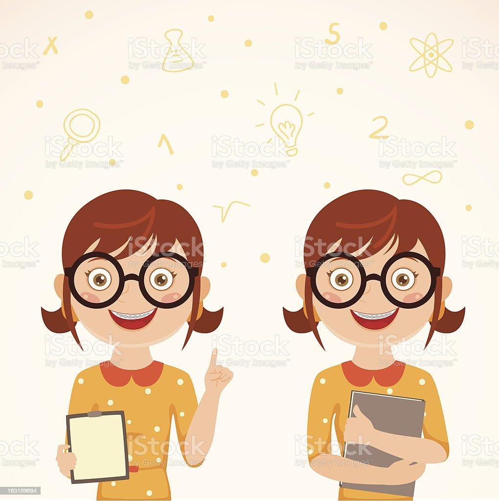 Cute nerdy girl royalty-free stock vector art