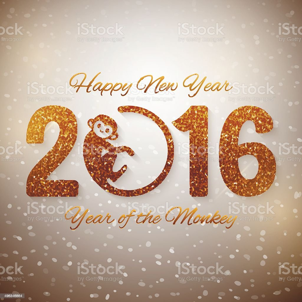 Cute New Year postcard with golden text,  2016 monkey design vector art illustration