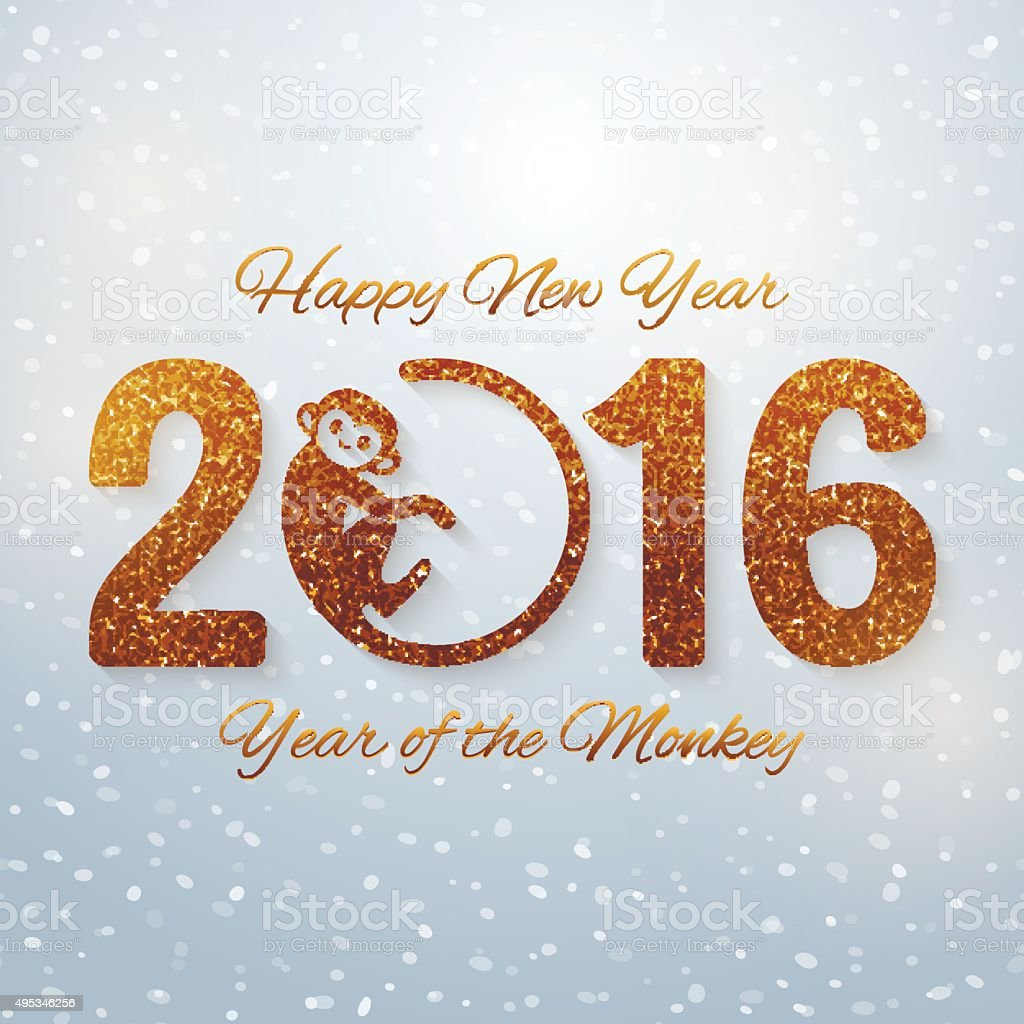Cute New Year postcard with golden text, monkey year vector art illustration