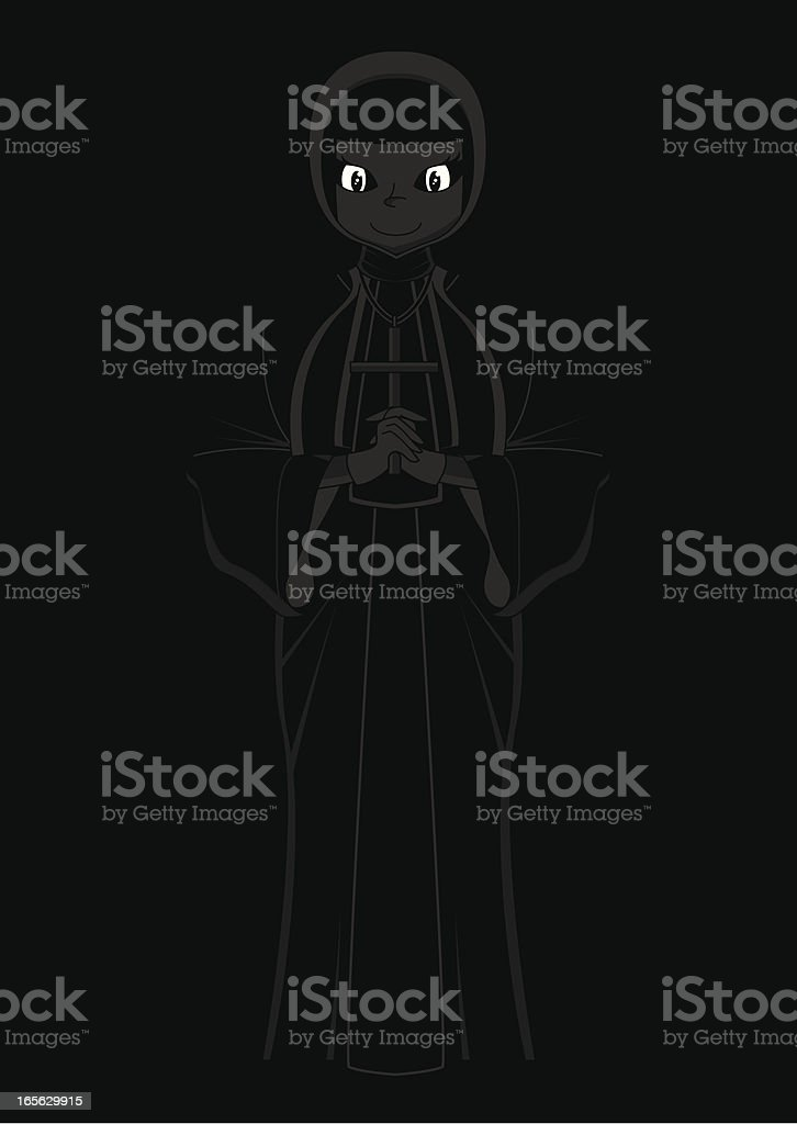 Cute Nun with Cross Silhouette royalty-free stock vector art