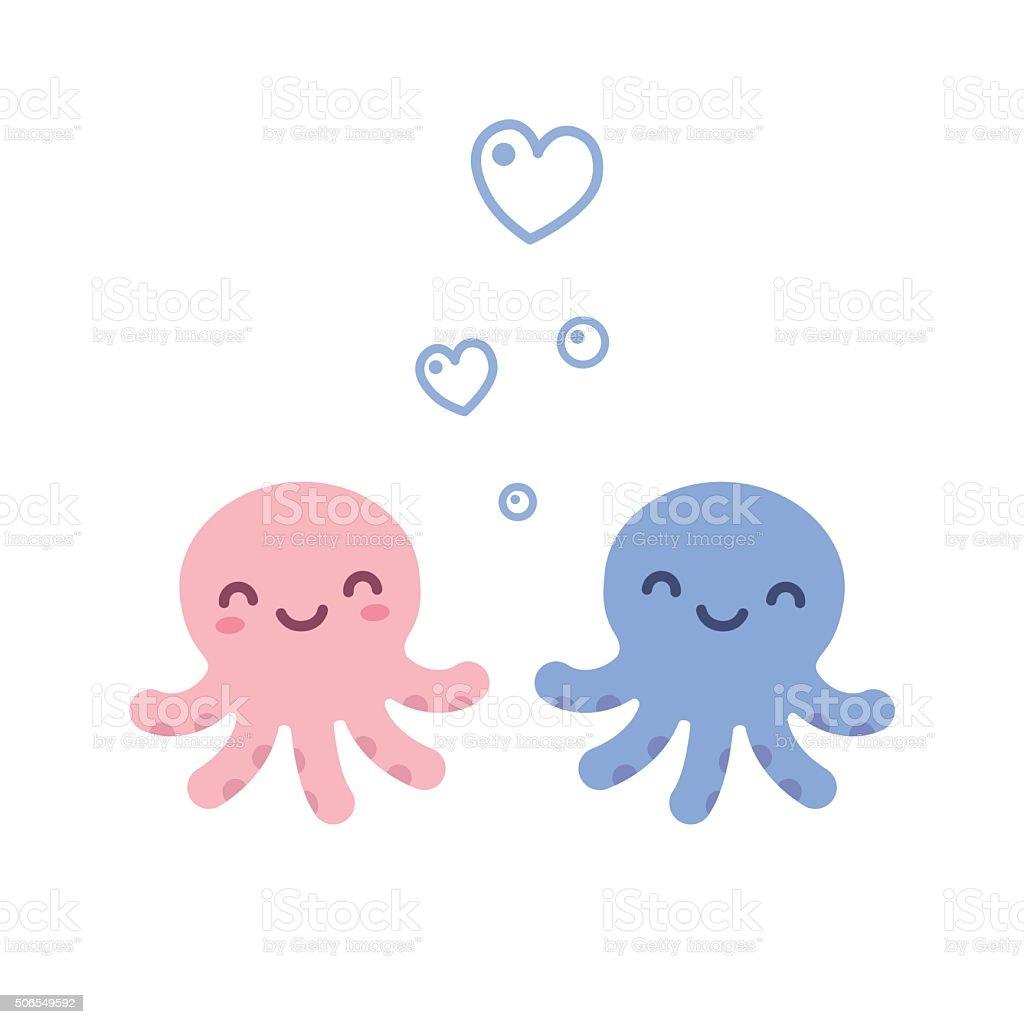 Cute octopus love stock vector art 506549592 istock for Cute octopus drawing