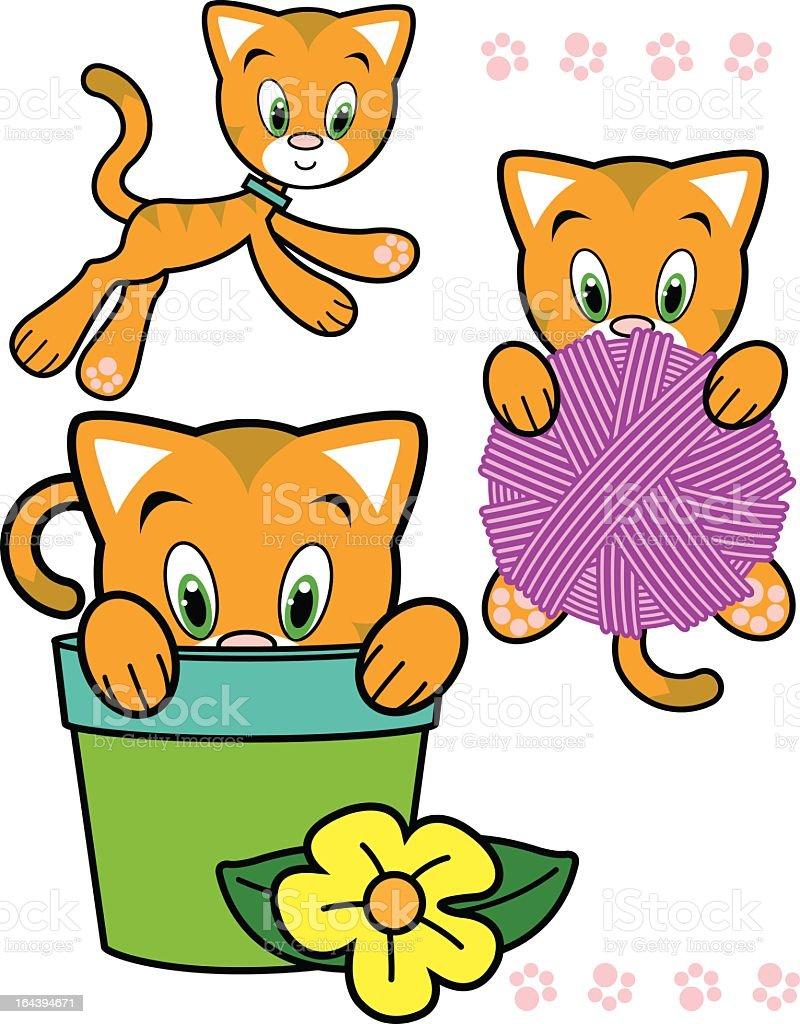 Cute Orange Kitty Character Series royalty-free stock vector art