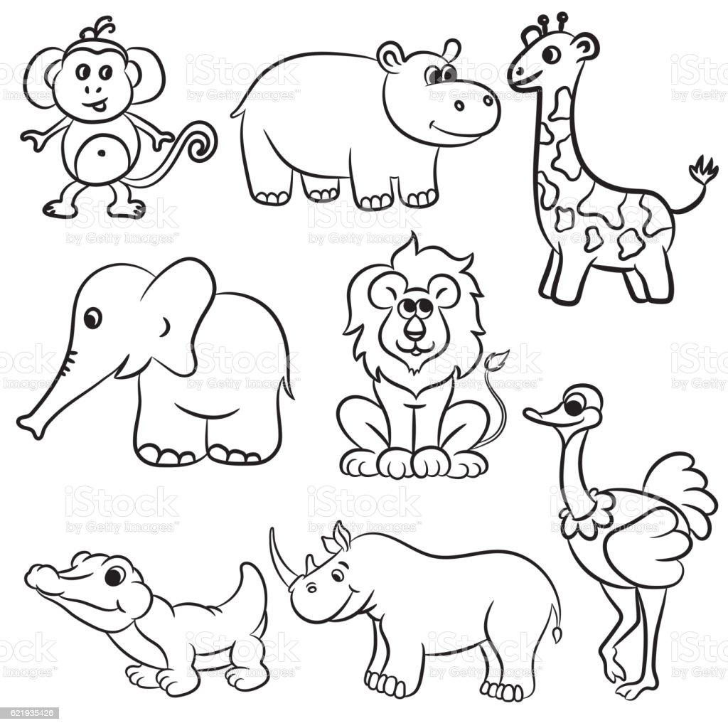 Cute outlined zoo animals collection vector art illustration