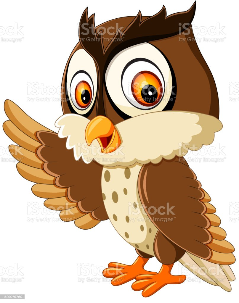 cute owl cartoon vector art illustration