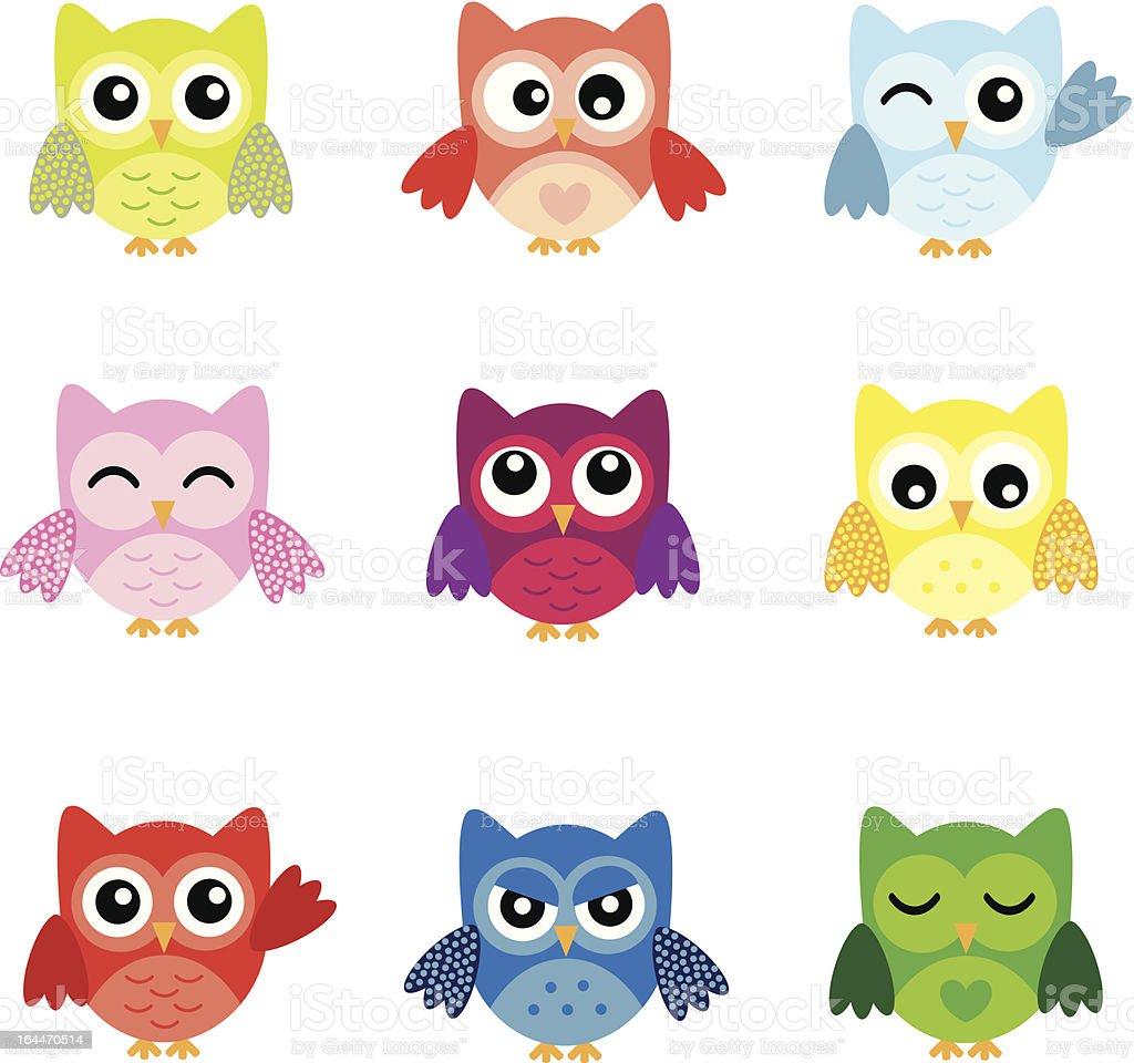 Cute Owl Characters vector art illustration