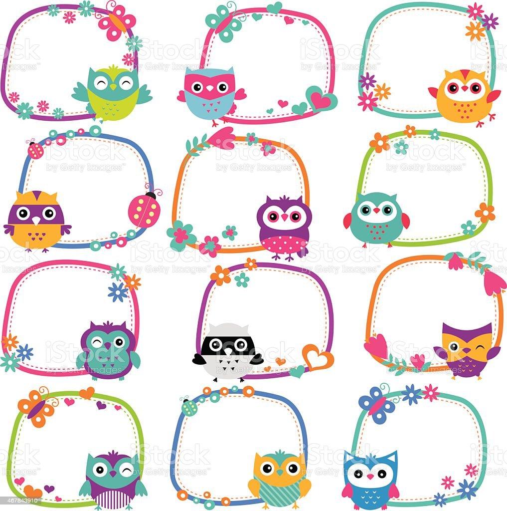 cute owl frames clip art set stock vector art 467843910 Owl Clip Art Frame Owl Clip Art Frame