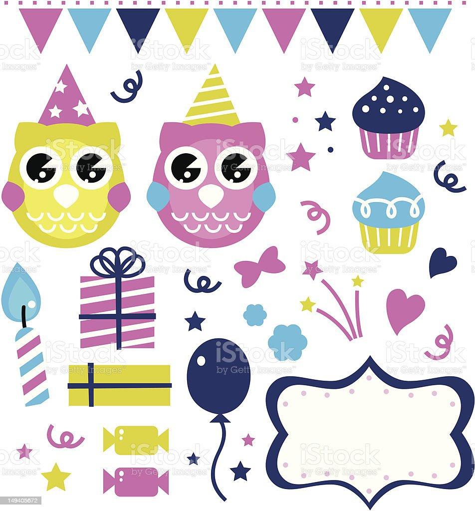 Cute owl party elements isolated on white royalty-free stock vector art