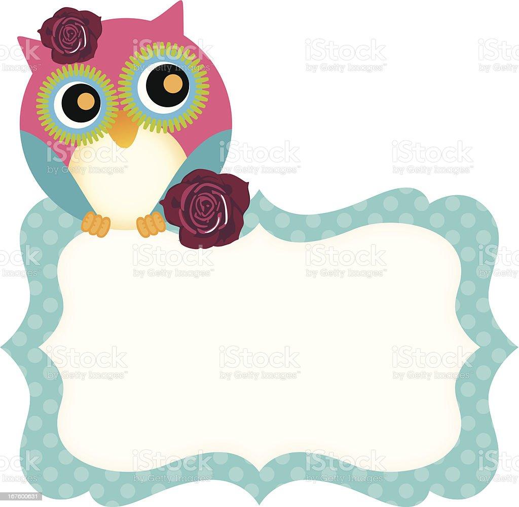 Cute owl tag royalty-free stock vector art
