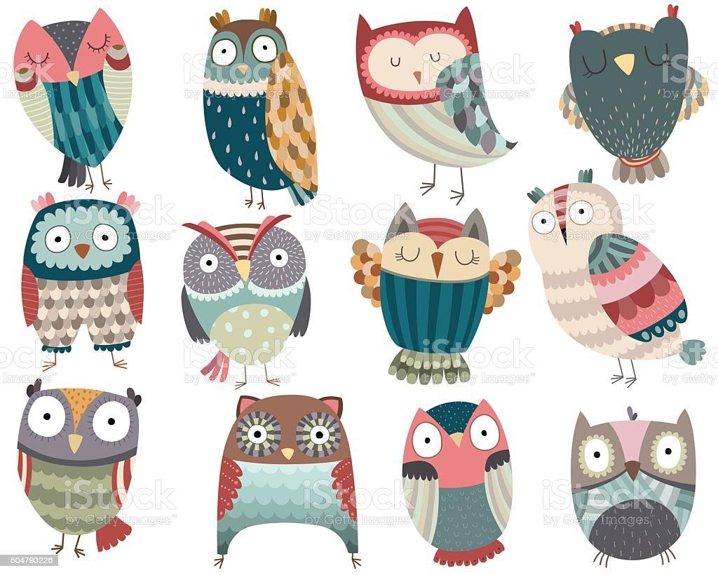 Cute Owls vector art illustration