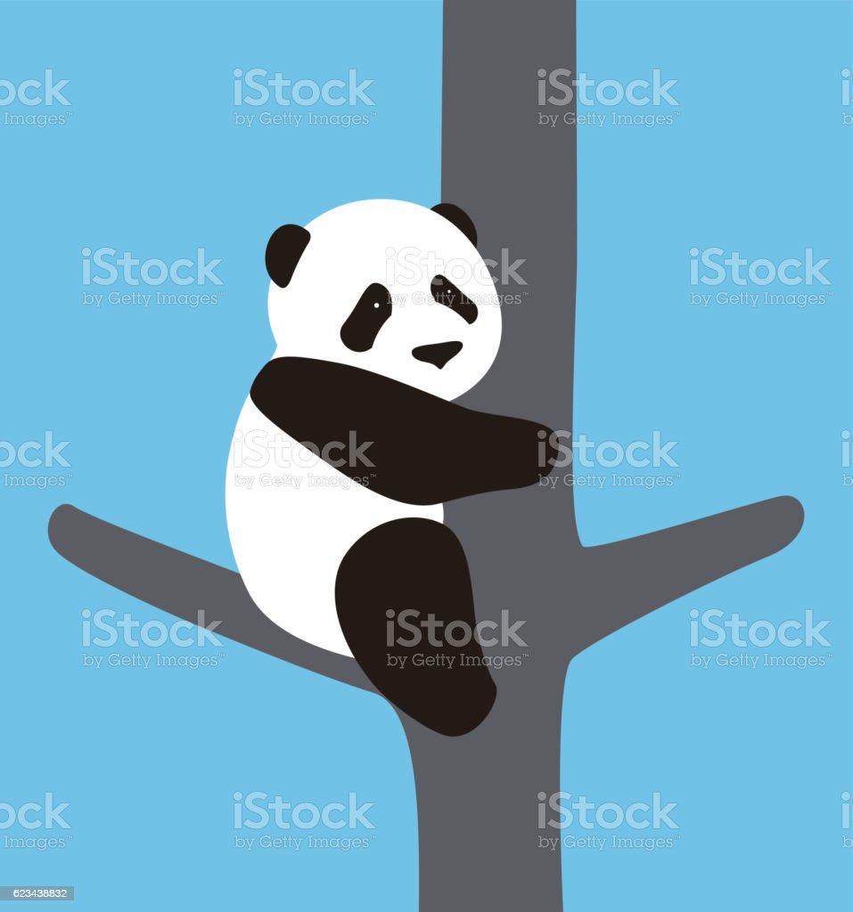 cute panda baby climbing the tree, vector illustrator vector art illustration