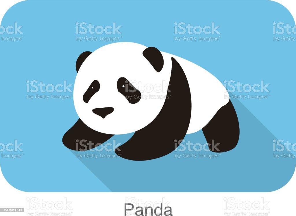 cute panda baby walking, flat design, vector illustrator vector art illustration