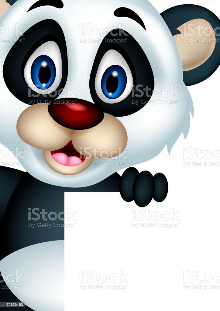 cute panda cartoon posing with blank sign royalty-free stock vector art