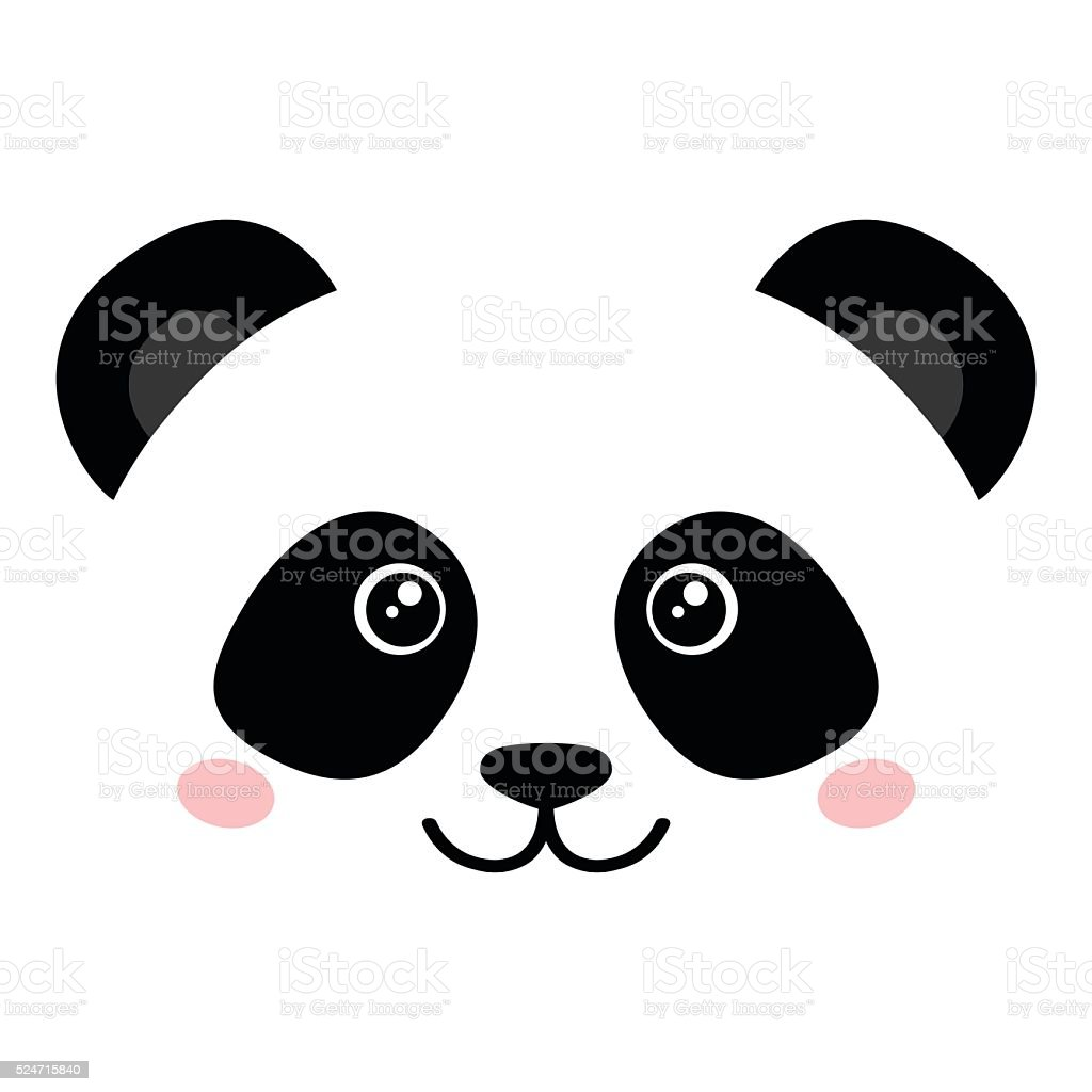 Cute panda face vector art illustration