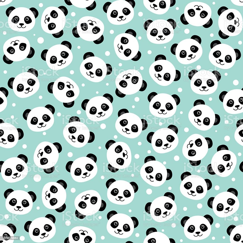 Cute panda face. Wallpaper vector art illustration