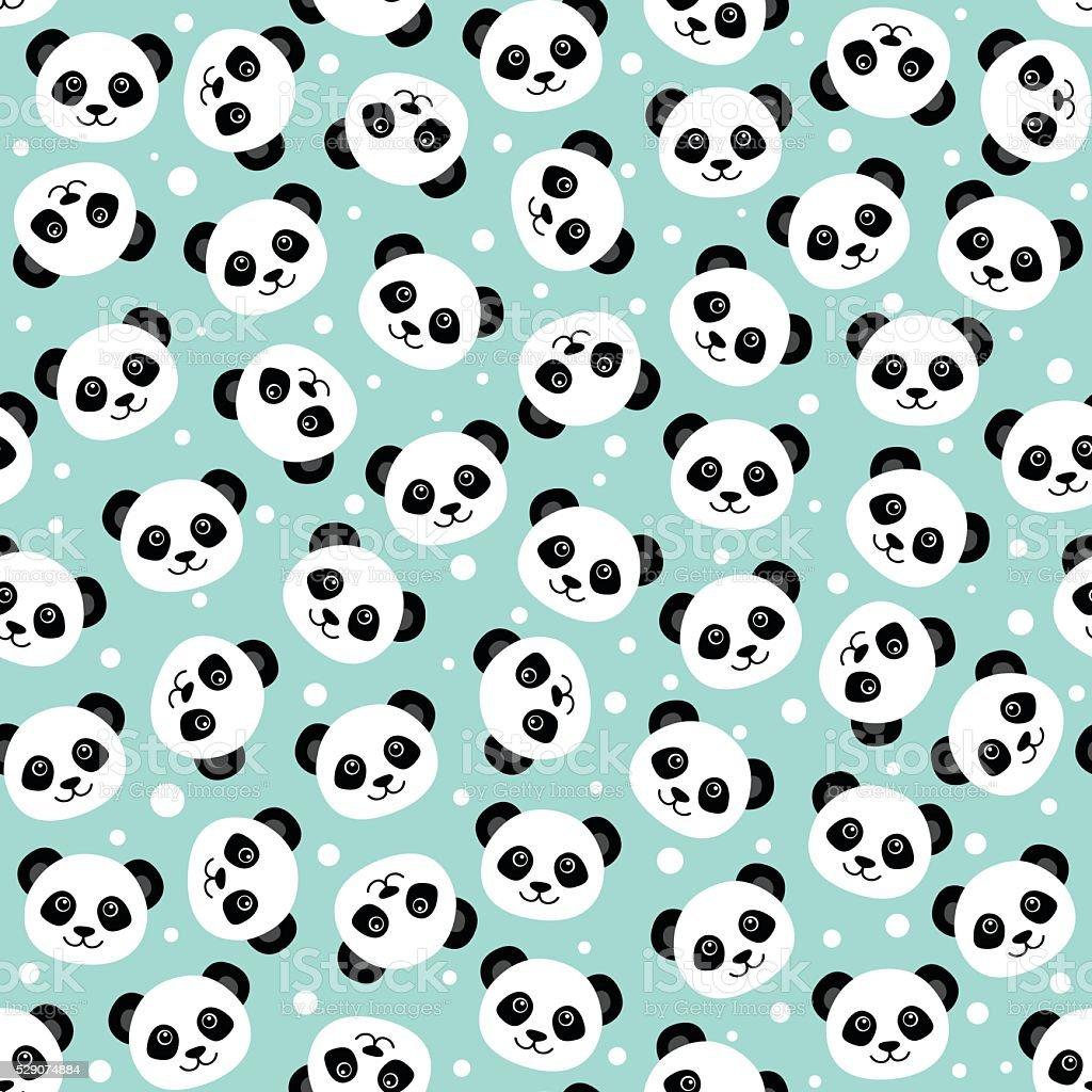 Cute panda face. Wallpaper vector art illustration
