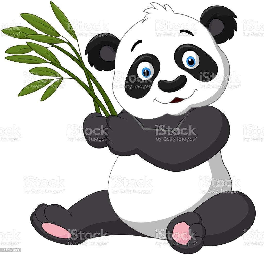 Cute panda holding bamboo vector art illustration