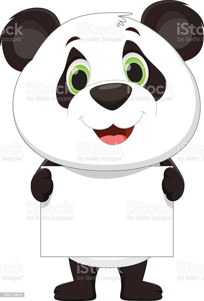cute panda holding blank sign vector art illustration