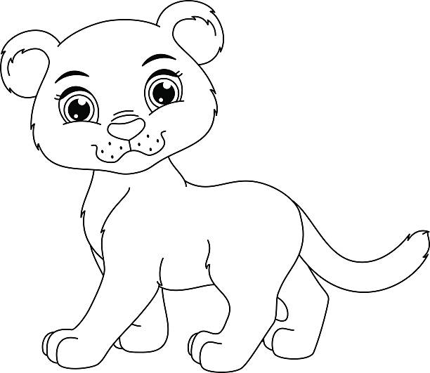 cute panther coloring page vector art illustration