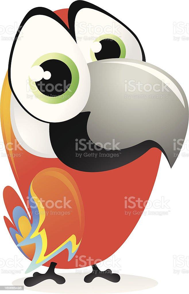 Cute Parrot Cartoon - Macaw vector art illustration