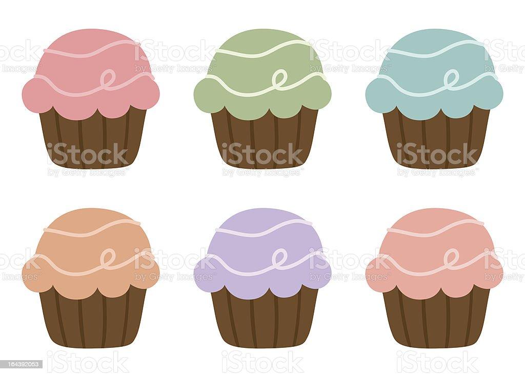 Cute pastel cupcakes royalty-free stock vector art