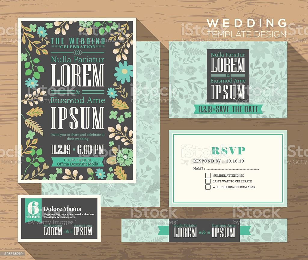 Cute pastel floral pattern wedding invitation set design Templat vector art illustration